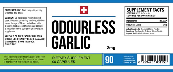 odourless-garlic capsules 2mg ingredients