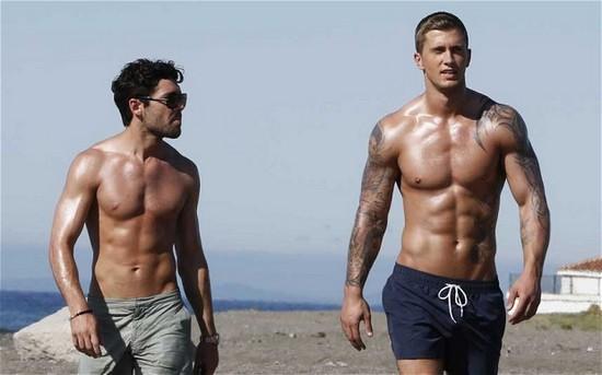 bodies of men using human growth hormones