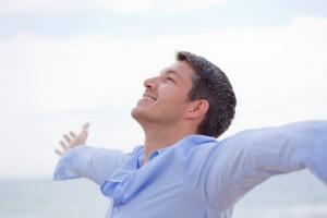happy healthy man using Blue Green Algae