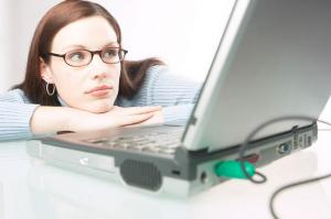 woman watching computer