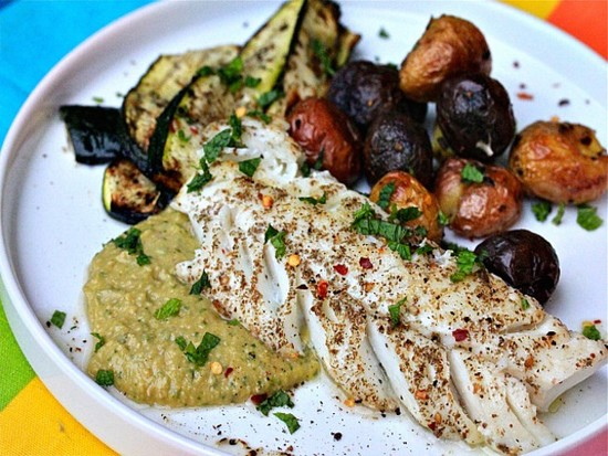 fish, alongside chickpeas