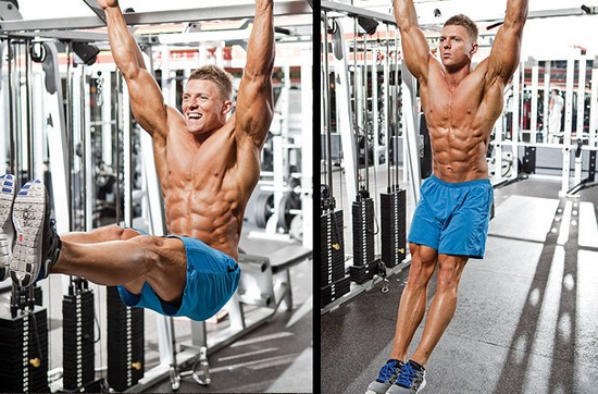 man doing leg raises