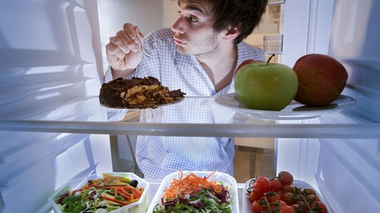 man snacking in day off