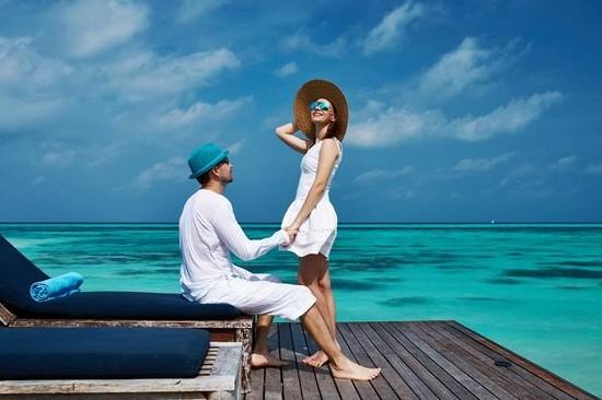 having fun honeymoon couple