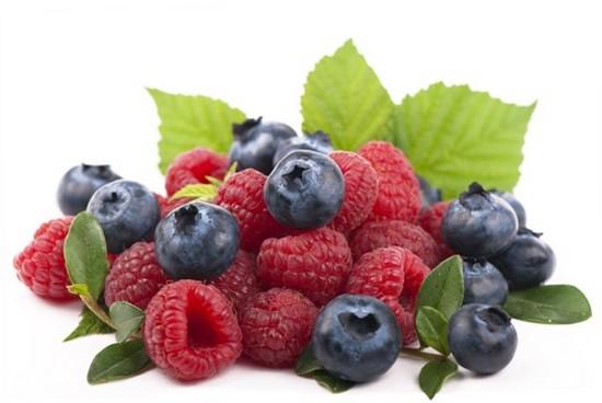 Raspberries blueberries