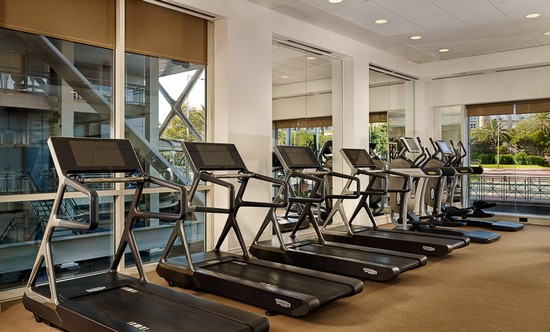 working out in a hotel gym